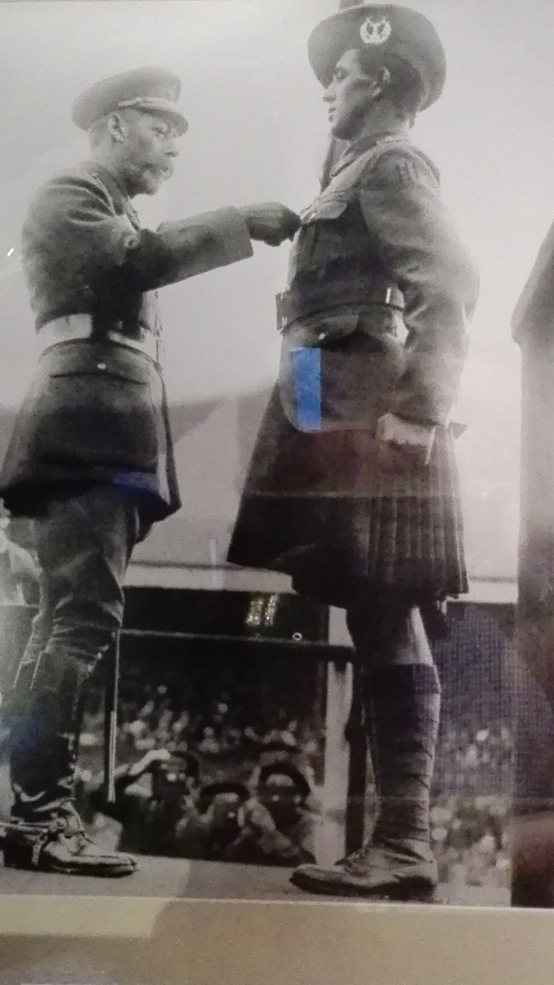 King George 5 presents Pte George McIntosh with his Victoria Cross at Ibrox Park Sept 1917, great to see our club still support our military no matter their faith. Looking forward to the tribute this